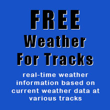 Real-time information based on current weather observations at various race tracks.