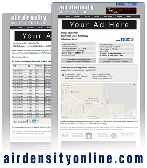 Advertise with AirDensityOnline.com!